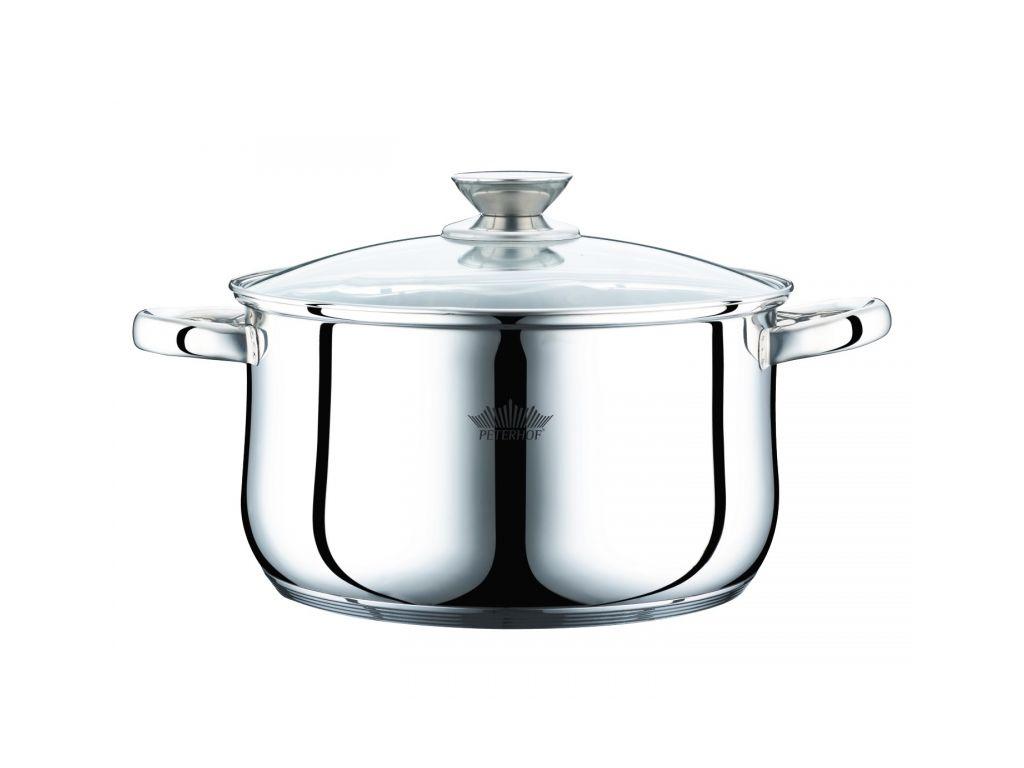 Peterhof Κατσαρόλα 24cm από Ανοξείδωτο ατσάλι 5.8Lt με Γυάλινο καπάκι και 5 επιπ μαγειρικά σκεύη   κατσαρόλες