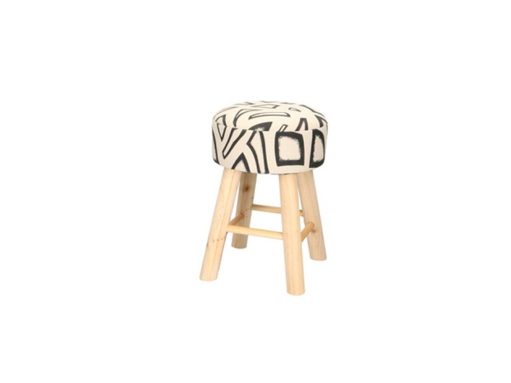 Ξύλινο Σκαμνί-Σκαμπό με Στρογγυλό Υφασμάτινο Κάθισμα 28x40cm, 01183 - Cb έπιπλα   πουφ και σκαμπό