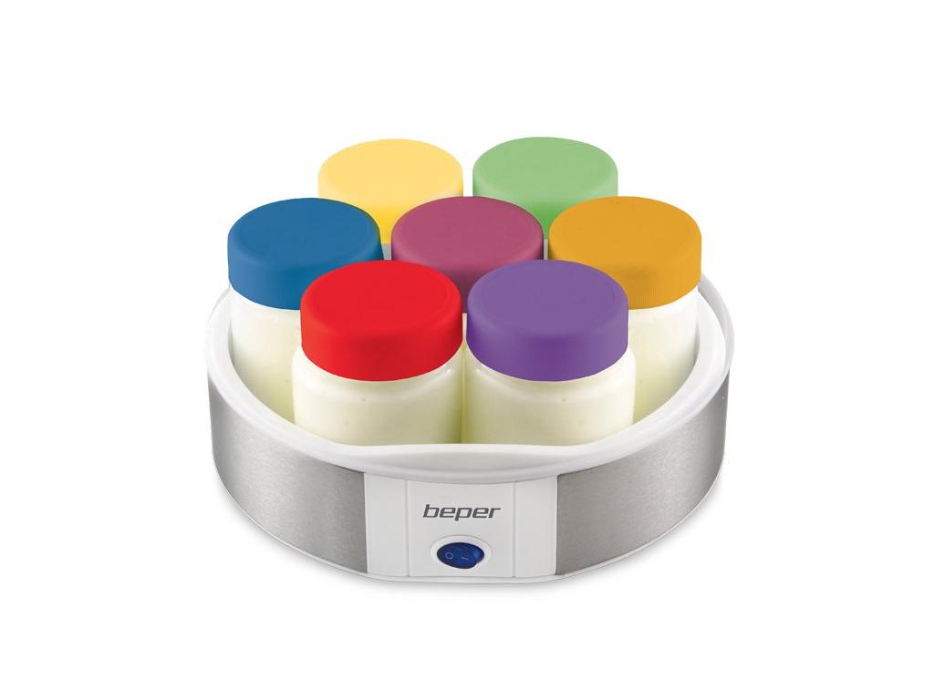 Beper Συσκευή Παρασκευής Γιαουρτιού - Γιαουρτομηχανή 15W με 7 βαζάκι των 170ml μ για την κουζίνα   μικροσυσκευές