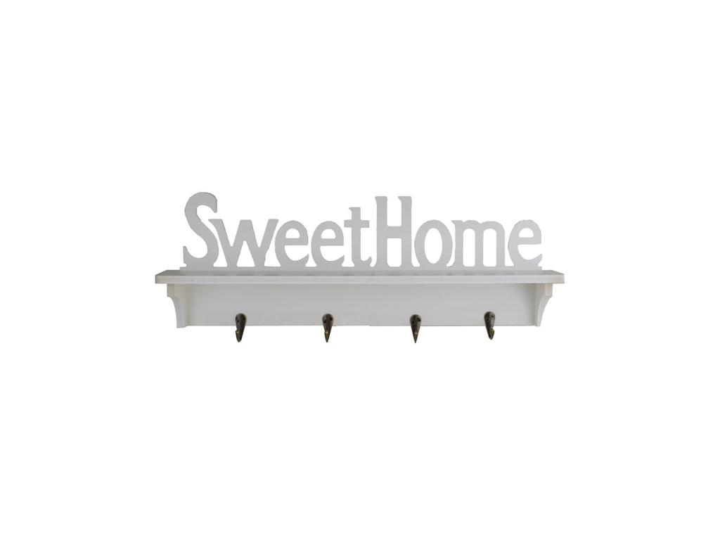 """Ξύλινη Κρεμάστρα με 4 άγκιστρα 47x8.5x16.5cm και θέμα """"Sweet Home"""" σε Λευκό χρώμ οργάνωση σπιτιού   κρεμάστρες"""