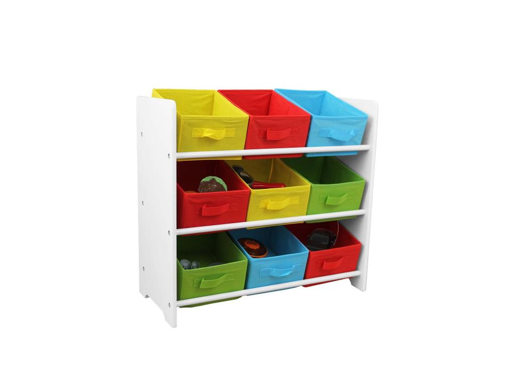 Homestyle Ξύλινο Έπιπλο Ραφιέρα με 3 ράφια και 9 υφασμάτινα πολύχρωμα συρτάρια α έπιπλα   μπαούλα και κουτιά αποθήκευσης