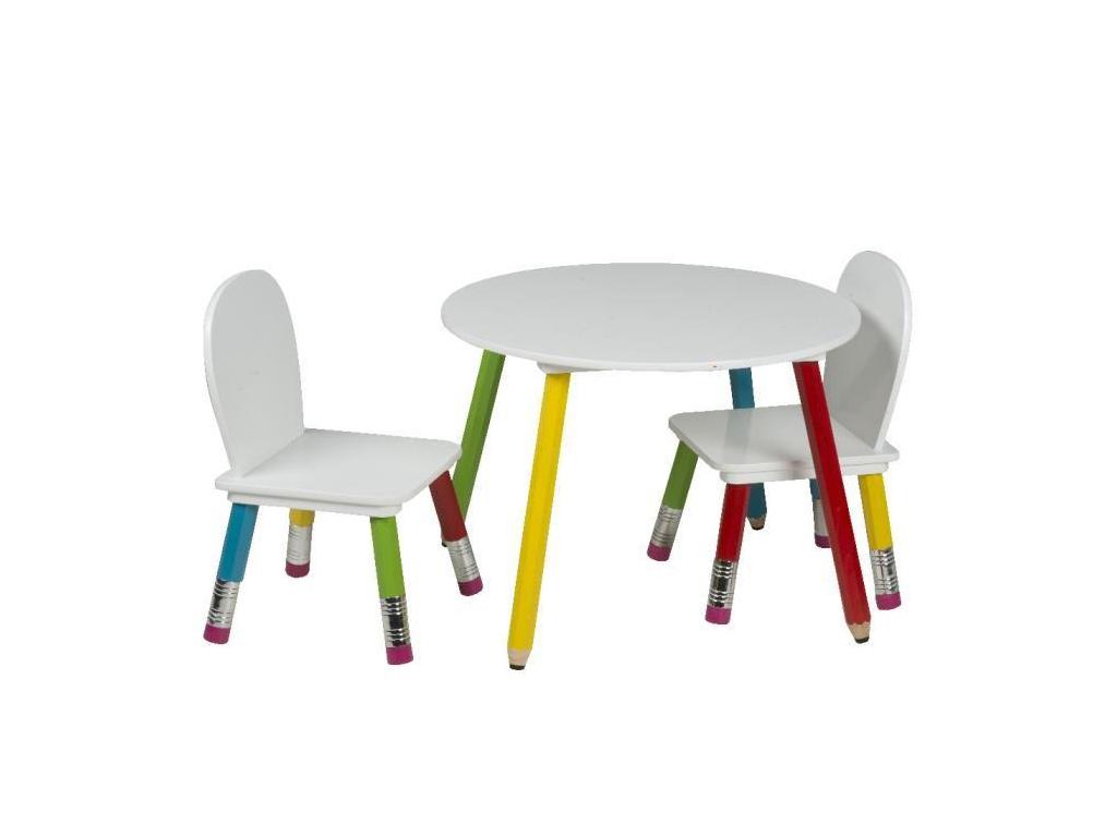 Homestyle Ξύλινο Σετ Τραπεζάκι με 2 Καρέκλες για παιδιά με πόδια Ξυλομπογιές Δια μωρά και παιδιά   παιδική διακόσμηση