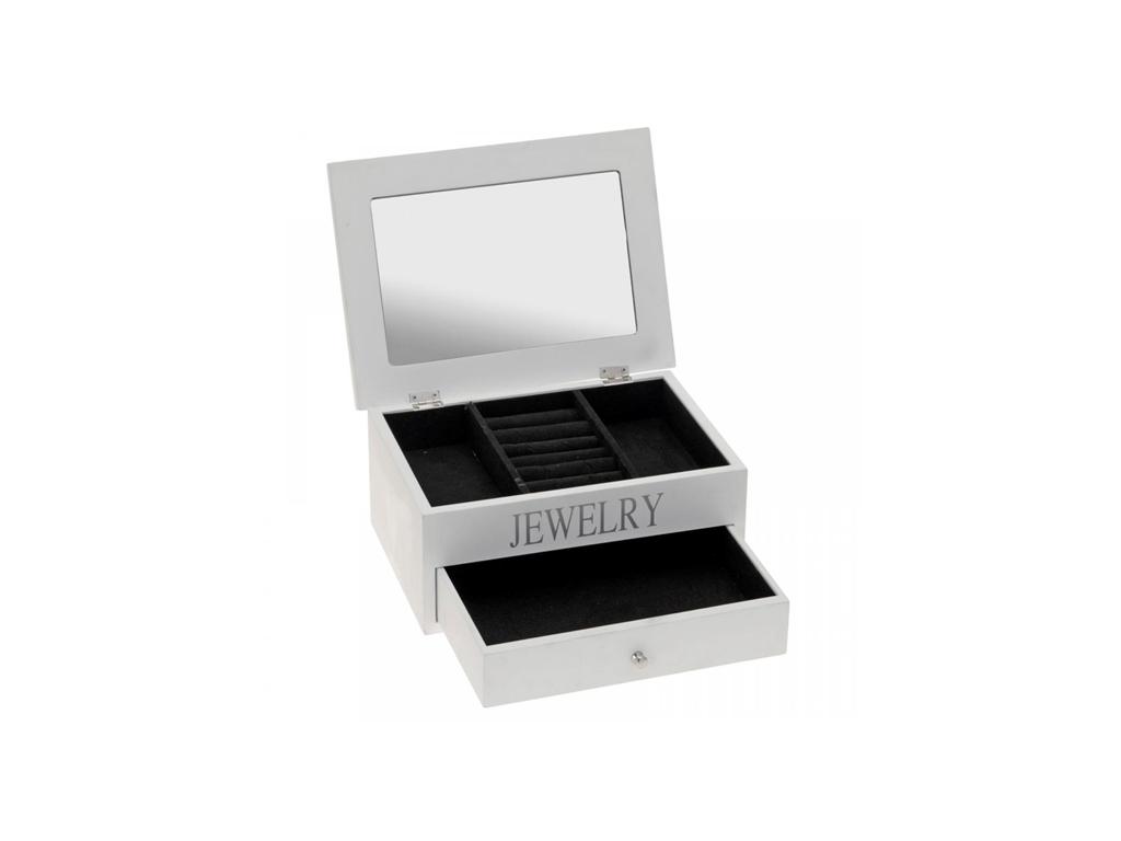 Ξύλινη Κοσμηματοθήκη-Μπιζουτιέρα 27x19x11cm με συρτάρι, βελουτέ εσωτερική επένδυ γυναίκα   αξεσουάρ   κόσμημα