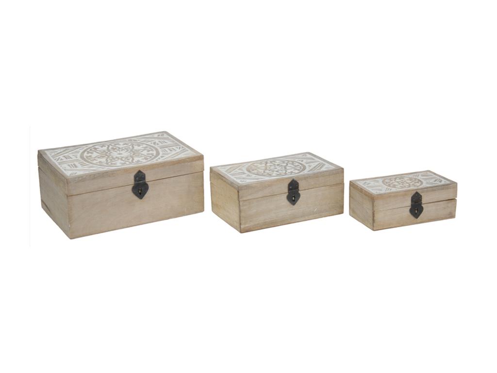 Σετ Vintage Ξύλινα Κουτιά αποθήκευσης 3 τεμ. με Καπάκι Σκαλιστό σε Φυσικό Ξύλο κ