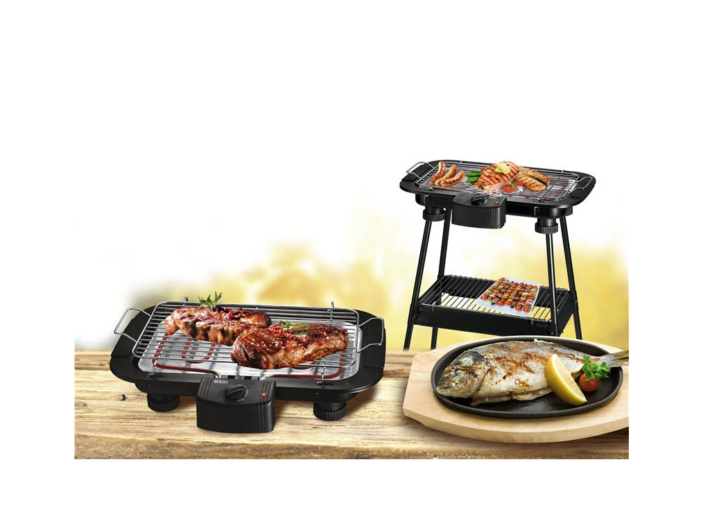 Sogo Ηλεκτρική ψησταριά Μπάρμπεκιου BBQ Ψησταριά Γκριλ-Grill 2000W με Αποσπώμενη Σχάρα και Πόδια Στήριξης, BAR-SS-10380 - SOGO