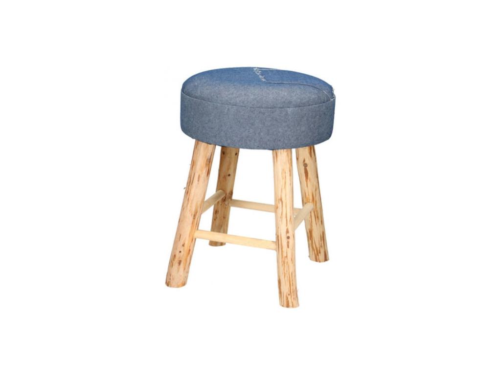 Ξύλινο Σκαμνί-Σκαμπό με Στρογγυλό Τζιν Υφασμάτινο Κάθισμα 30x42cm, 01190 - Cb