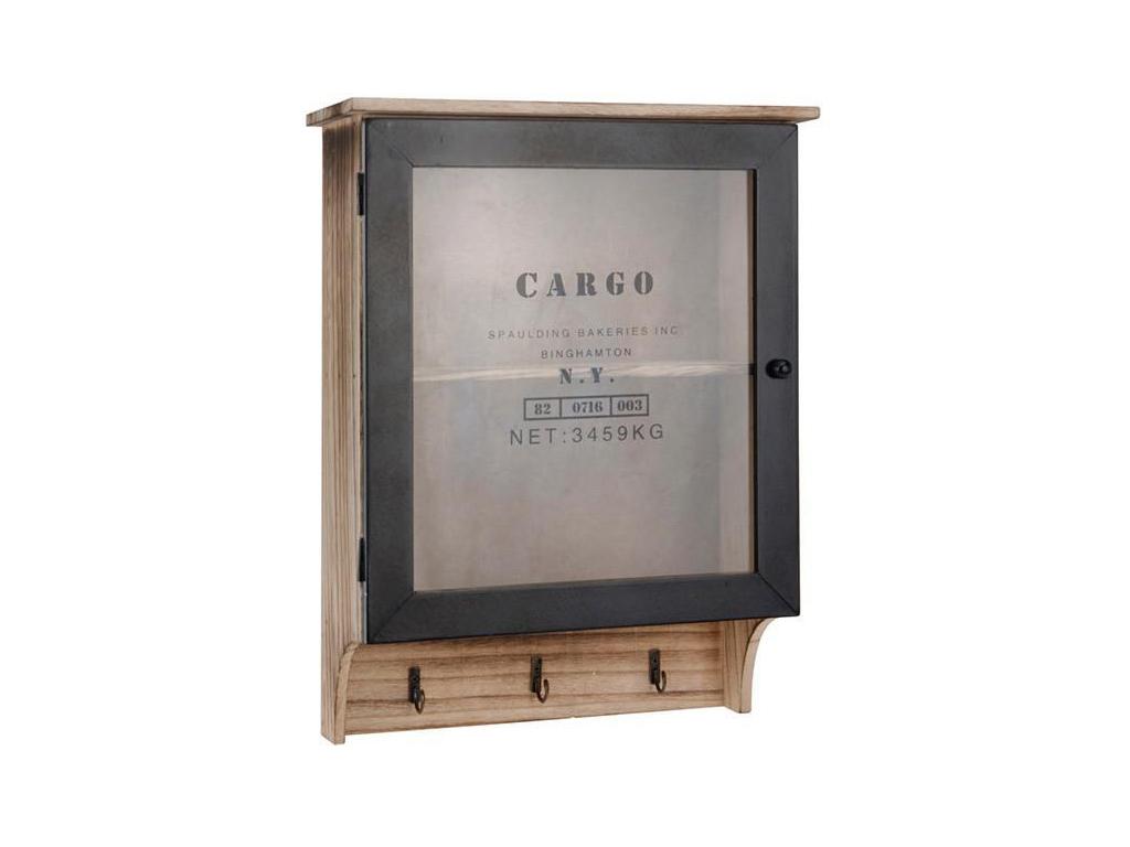 Vintage Ξύλινο Ντουλάπι Τοίχου-Κλειδοθήκη με 3 Γάντζους 30x12x40 cm - Cb οργάνωση σπιτιού   κλειδοθήκες