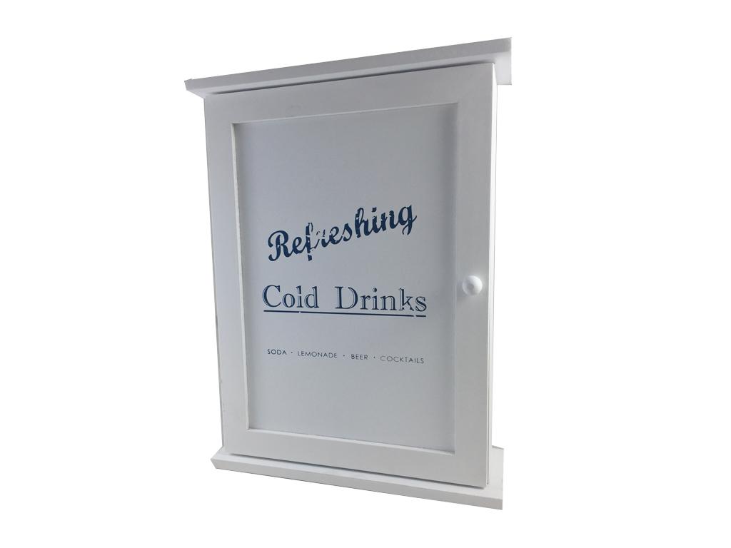 Ξύλινη Κλειδοθήκη Τοίχου με Ντουλαπάκι και 6 Γάντζους 22x7.5x29cm σε Λευκό χρώμα οργάνωση σπιτιού   κλειδοθήκες