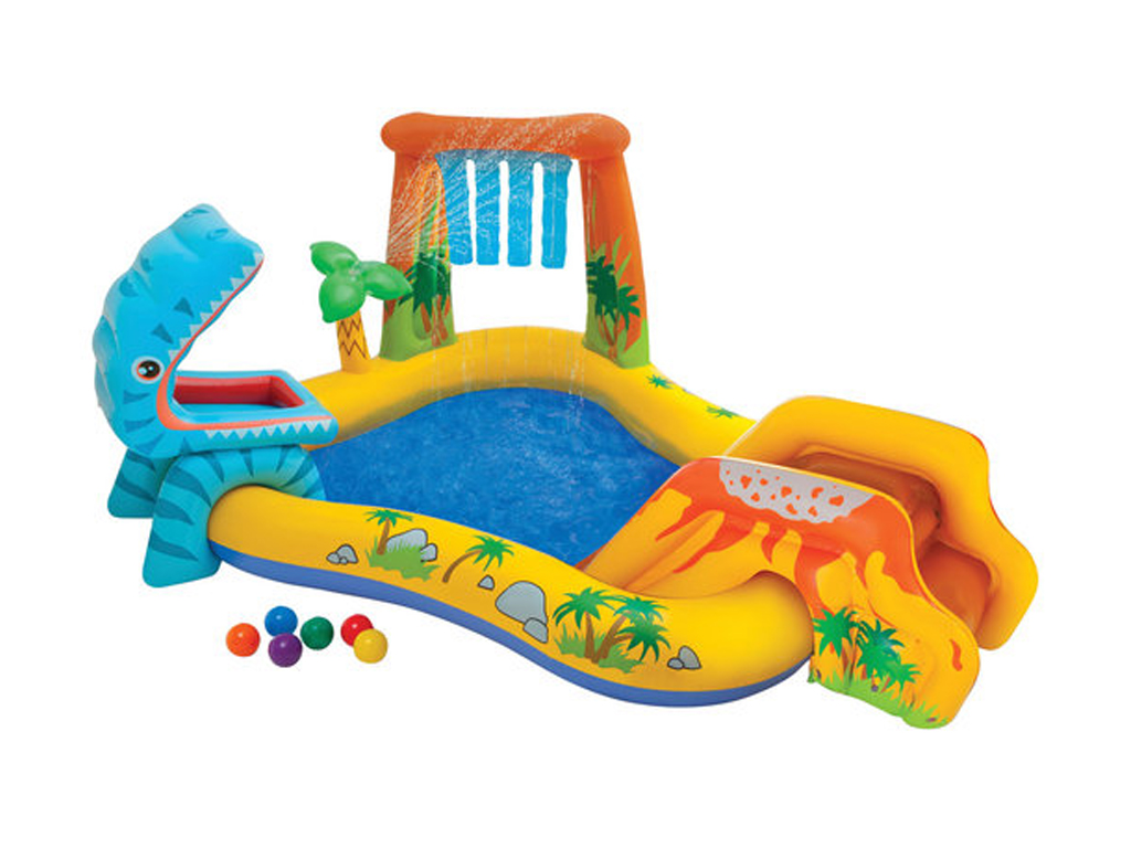 Intex Πολύχρωμη Φουσκωτή Παιδική Πισίνα 249x191x109cm Ανακαλύψτε τη Ζούγκλα με Δ κήπος και βεράντα   φουσκωτά παιχνίδια και πισίνες