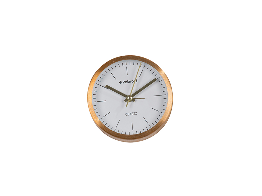 Polaroid Επιτραπέζιο Ρολόι-Ξυπνητήρι με Quartz μηχανισμό 9.2x3.9cm, 87157 Χρώμα Χρυσό-Λευκό - Polaroid