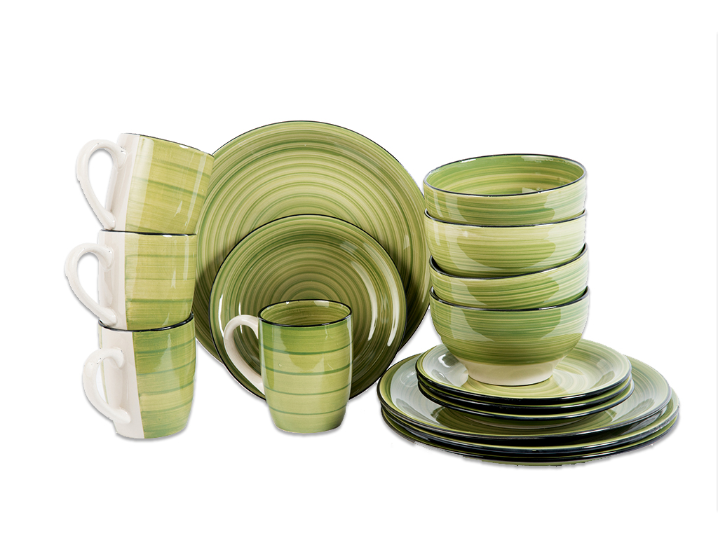 Trento Σετ 4 Σερβίτσια Δείπνου 16 τεμ. με Πιάτα, Μπολ και Κούπες σε Πράσινο χρώμ σερβίρισμα   σερβίτσια