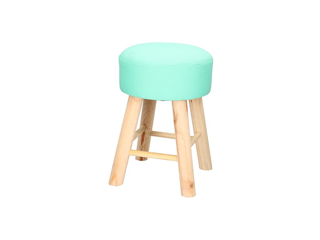 Ξύλινο Σκαμνί-Σκαμπό με Στρογγυλό Υφασμάτινο Κάθισμα 28x40cm, 01184 Χρώμα Βεραμά έπιπλα   πουφ και σκαμπό