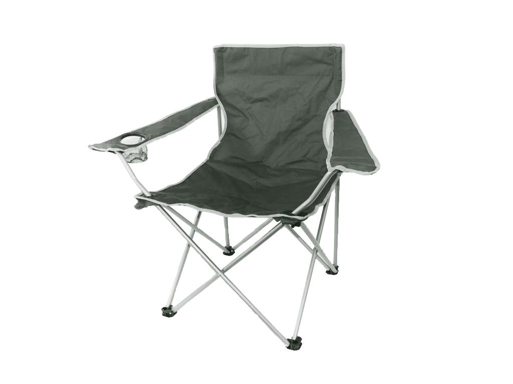 Καρέκλα παραλίας Κήπου Κάμπινγκ Camp Active Πτυσσόμενη (Camping) 80x50x50cm με θήκη για ποτήρι, 39686 Χρώμα Γκρι - Camp Active