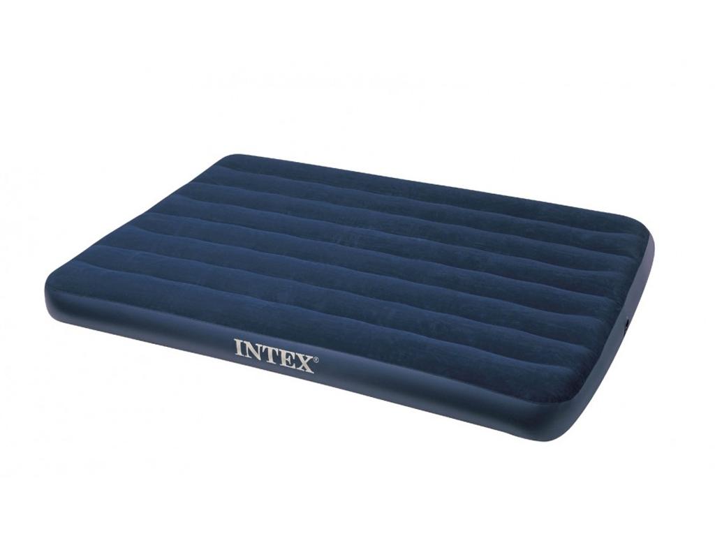 Intex Φουσκωτό Στρώμα Ύπνου Διπλό 137x193x22cm με Βελούδινη επένδυση σε Μπλε χρώ οικιακά είδη   διάφορα είδη για το σπίτι