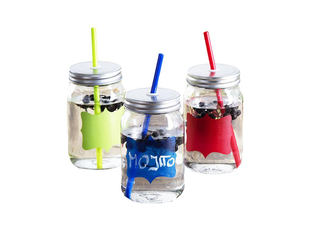 Σετ Γυάλινα Ποτήρια 500ml 3 τεμ. για Κρύα Ροφήματα και Κοκτέιλ με Καπάκι με τρύπ σερβίρισμα   κούπες και ποτήρια