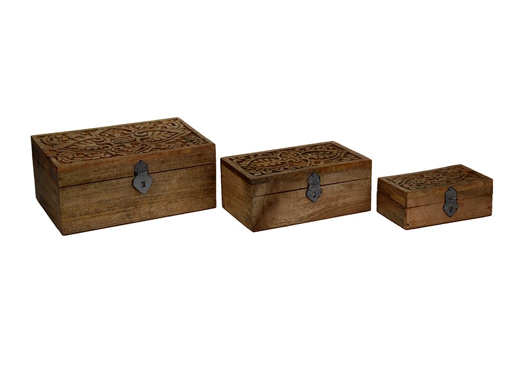 Σετ Vintage Ξύλινα Κουτιά αποθήκευσης 3 τεμ. με Καπάκι Σκαλιστό σε Φυσικό Ξύλο κ έπιπλα   μπαούλα και κουτιά αποθήκευσης