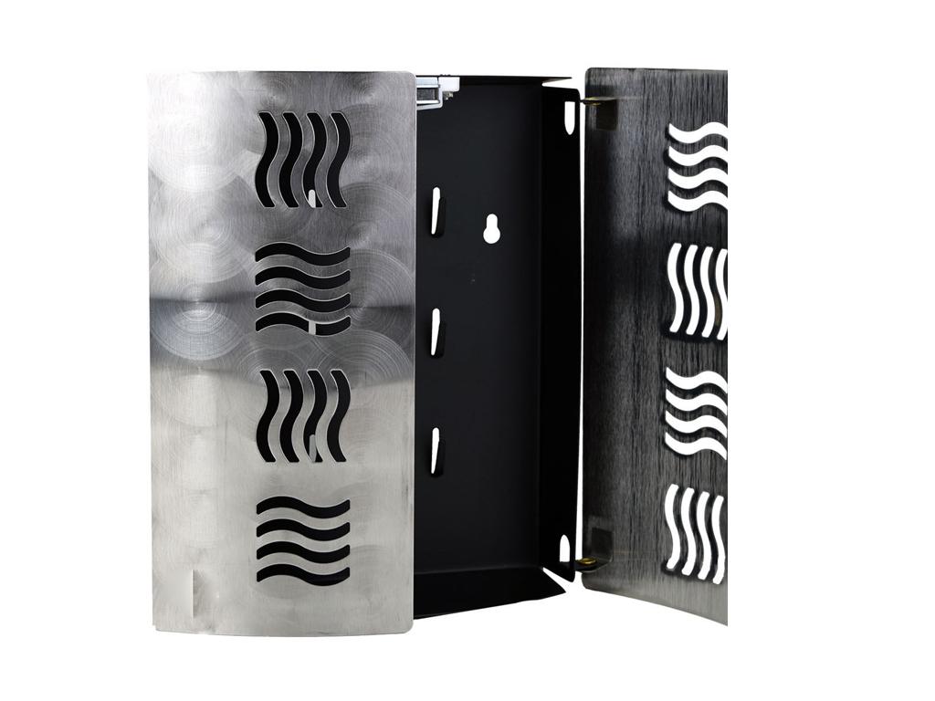 Κλειδοθήκη Τοίχου με 2 Πόρτες και 9 Γάντζους από Ανοξείδωτο ατσάλι 21x6x24.5cm,  οργάνωση σπιτιού   κλειδοθήκες