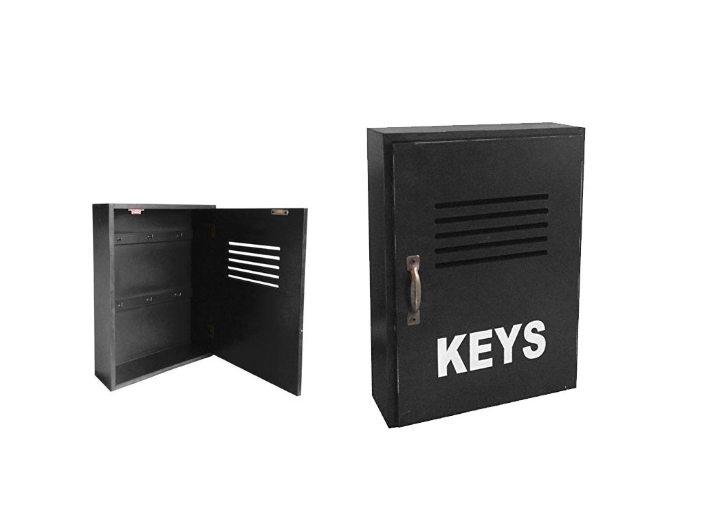 """Ξύλινη Κλειδοθήκη Τοίχου με Ντουλαπάκι και 6 Γάντζους 30x22x8cm """"Keys"""" Μαύρο - C οργάνωση σπιτιού   κλειδοθήκες"""