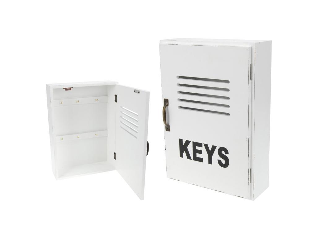 """Ξύλινη Κλειδοθήκη Τοίχου με Ντουλαπάκι και 6 Γάντζους 30x22x8cm """"Keys"""" Χρώμα Λευ έπιπλα   κλειδοθήκες"""