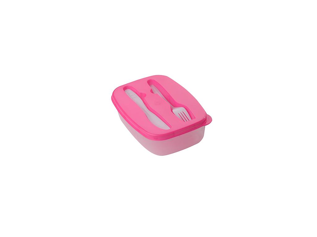Cuisine Elegance Πλαστικό Φαγητοδοχείο 22x15x6cm με Πιρούνι και Μαχαίρι, 87217 Χρώμα Ροζ - Cuisine Elegance