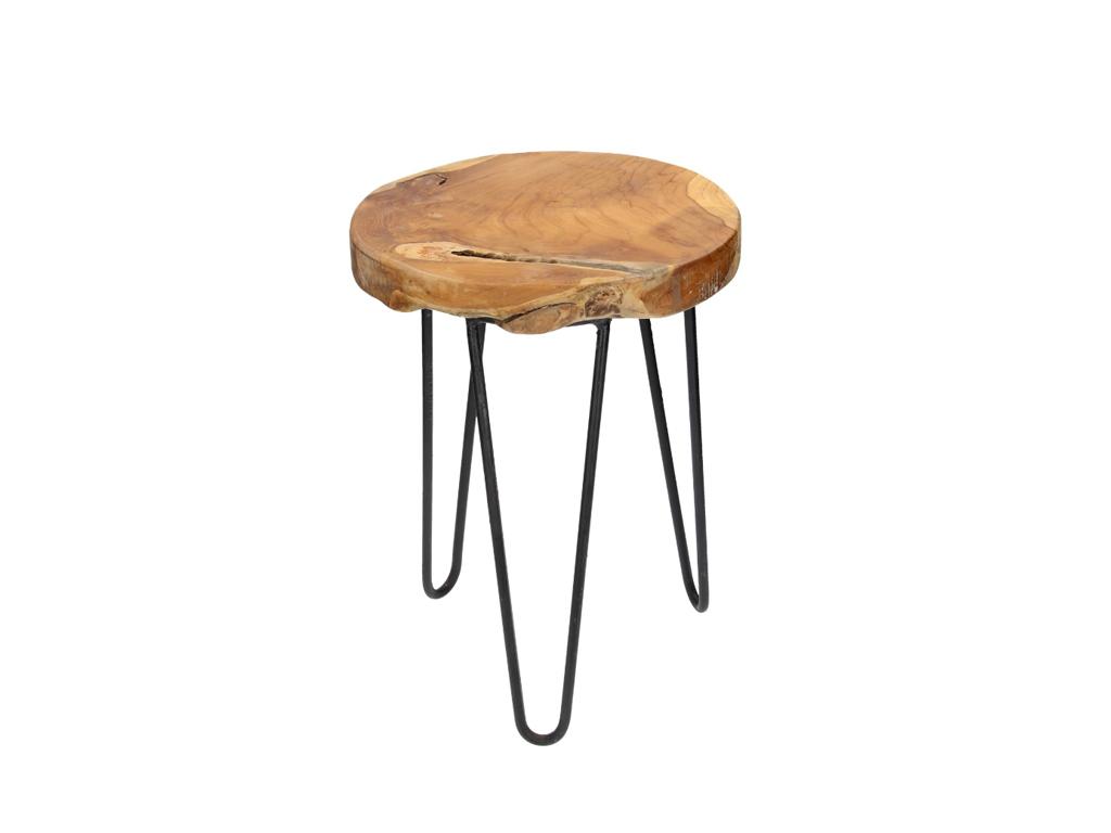 Σκαμνί-Σκαμπό από Ξύλο και Μέταλλο με Στρογγυλό Κάθισμα 42x30cm - Cb έπιπλα   πουφ και σκαμπό