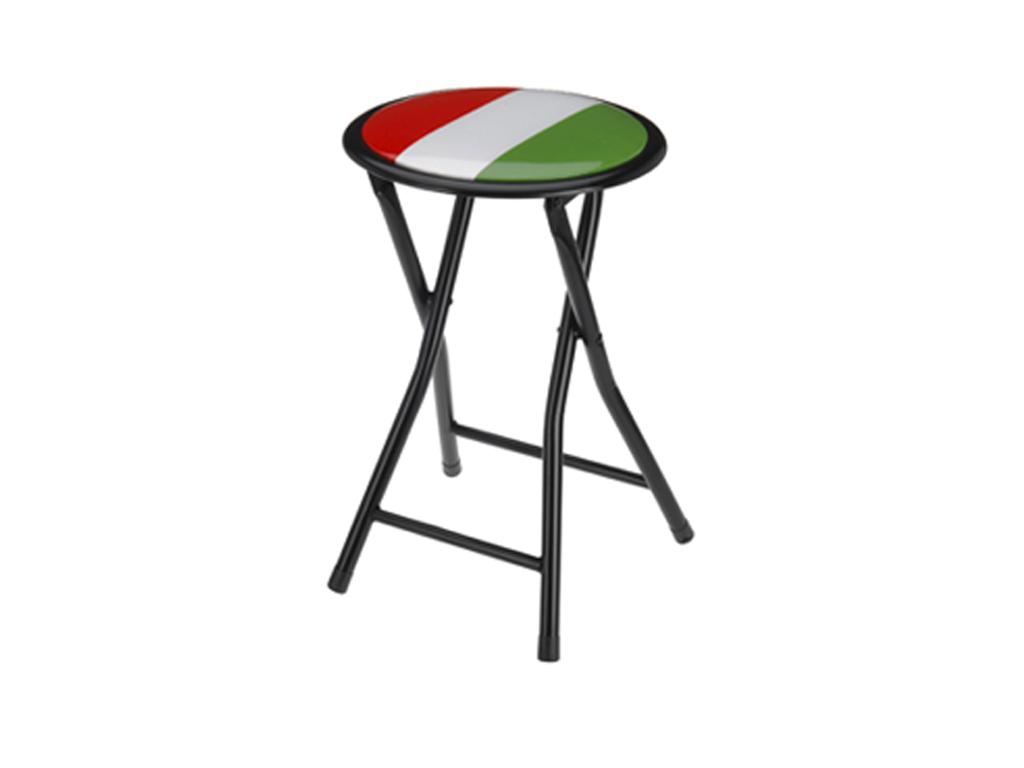 Πτυσσόμενο Σκαμνί-Σκαμπό Μεταλλικό με Στρογγυλό Κάθισμα με σχέδιο Ιταλική Σημαία έπιπλα   πουφ και σκαμπό