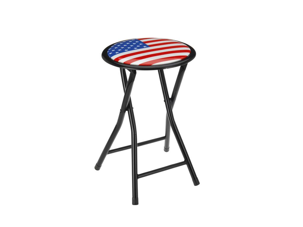 Πτυσσόμενο Σκαμνί-Σκαμπό Μεταλλικό με Στρογγυλό Κάθισμα με σχέδιο Σημαία της Αμε έπιπλα   πουφ και σκαμπό