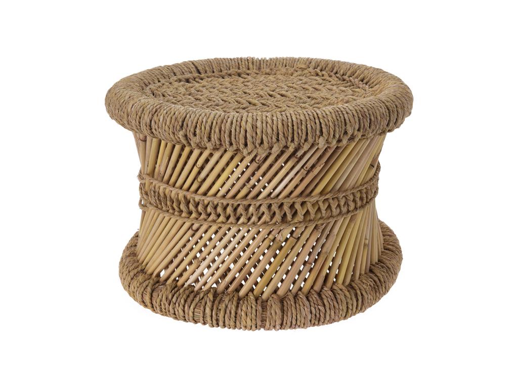 Σκαμπό-Σκαμνί Ρατάν με πλέξη στο πάνω μέρος και καλάμια στο κυρίως σώμα 32x22cm  έπιπλα   πουφ και σκαμπό