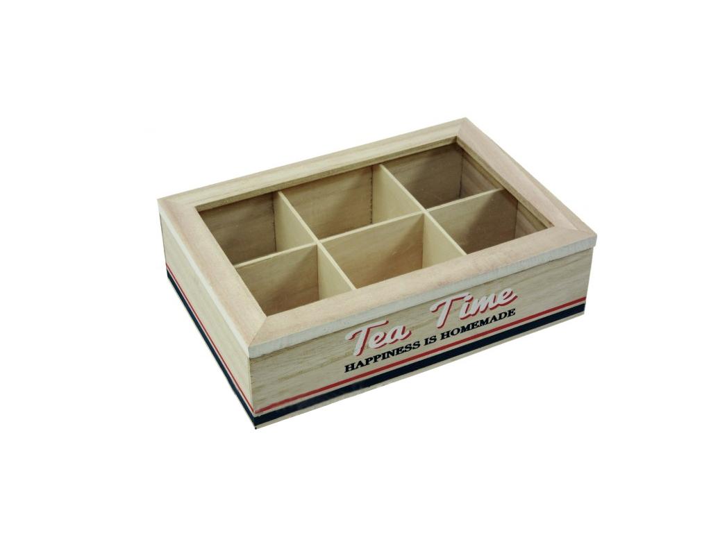 Ξύλινο Vintage Πρακτικό Κουτί αποθήκευσης για φακελάκια τσαγιού Tea box με 6 θέσ κουζίνα   οργάνωση κουζίνας