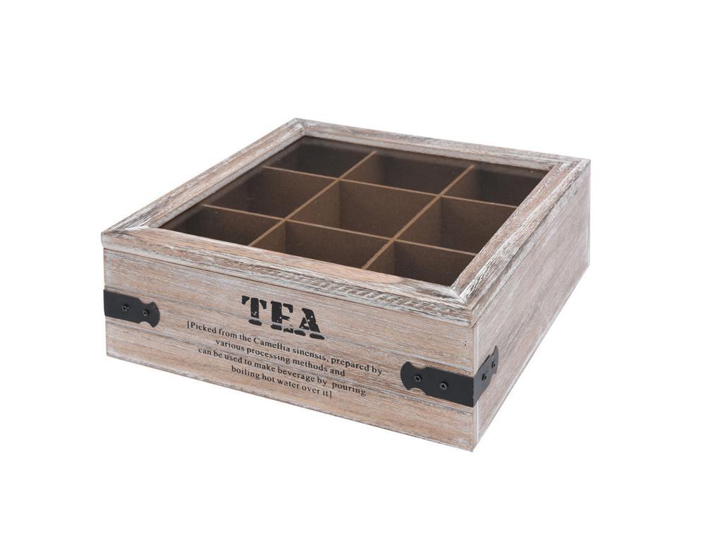 Ξύλινο Vintage Πρακτικό Κουτί αποθήκευσης για φακελάκια τσαγιού Tea box με 9 θέσ για την κουζίνα   οργάνωση κουζίνας