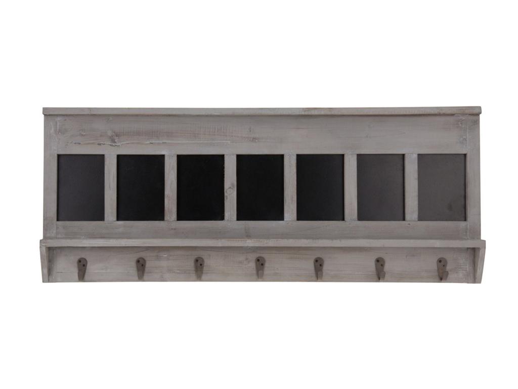 Ξύλινη Κρεμάστρα Vintage για τον Τοίχο με 7 άγκιστρα 90x35x5.5 cm σε Γκρι/Καφέ χ οργάνωση σπιτιού   κρεμάστρες