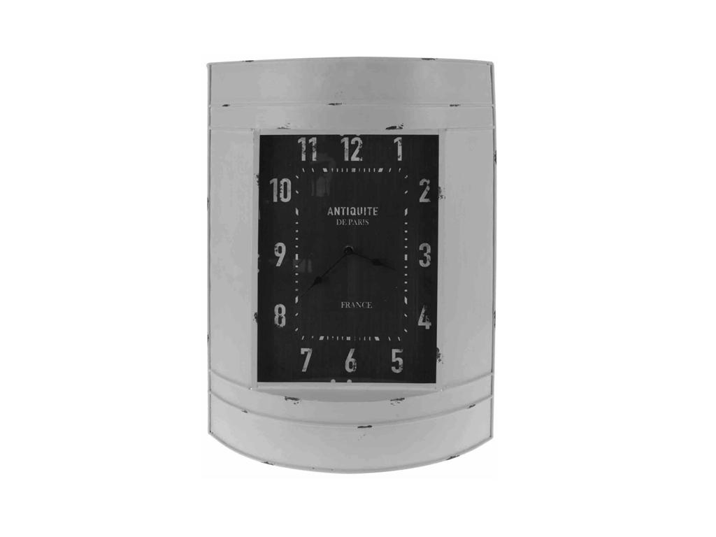 Vintage Μεταλλικό Ρολόι Τοίχου 39x55x12cm με Καμπυλωτό σχέδιο, HZ1006340 Λευκό - διακόσμηση και φωτισμός   ρολόγια τοίχου  επιτραπέζια και επιδαπέδια ρολόγια