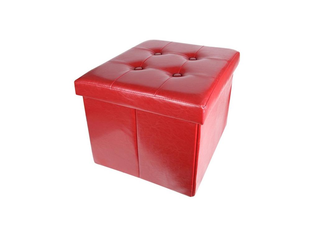 Homa Σκαμπό Πτυσσόμενο με Αποθηκευτικό Χώρο σε Κόκκινο χρώμα 36x36x38cm από Faux έπιπλα   πουφ και σκαμπό
