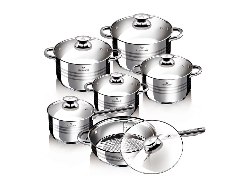 Blaumann Σετ Μαγειρικά σκεύη 12 τμχ. JUMBO από Ανοξείδωτο Ατσάλι με γυάλινα καπά μαγειρικά σκεύη   σετ μαγειρικών σκευών