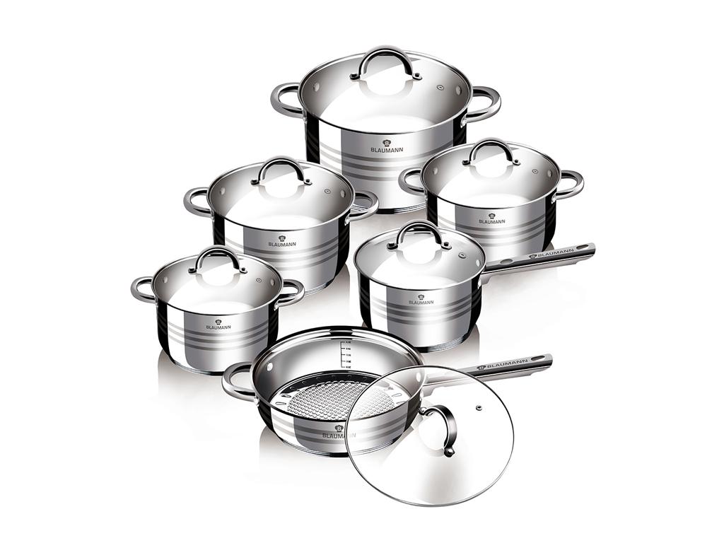 Blaumann Σετ Μαγειρικά Σκεύη από Ανοξείδωτο ατσάλι 12 τεμάχια, BL-1410 - Blauman σκεύη μαγειρικής   σετ μαγειρικών σκευών