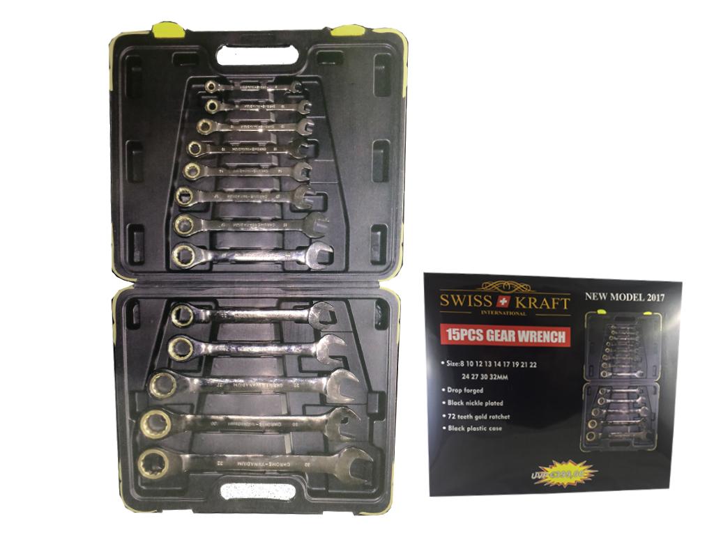 Swiss Kraft Επαγγελματική Εργαλειοθήκη - Βαλίτσα Χειρός με 15 τεμάχια Καστανόκλε εργαλεία για μαστορέματα   εργαλειοθήκες