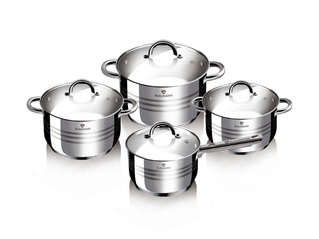 Blaumann BL-3115 Σετ κατσαρόλες, 8 τεμ, με καπάκι - Blaumann σκεύη μαγειρικής   σετ μαγειρικών σκευών