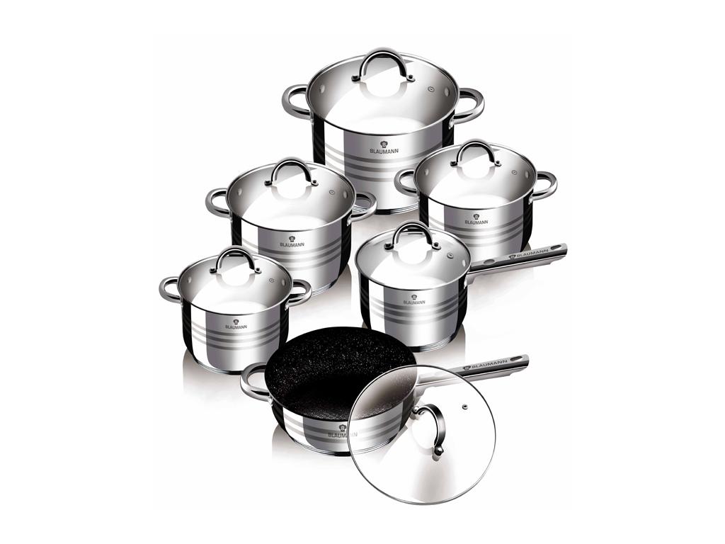 Blaumann BL-3151 Σετ μαγειρικά σκεύη 12 τεμ απο Ανοξείδωτο Ατσάλι Αντικολλητικά  σκεύη μαγειρικής   σετ μαγειρικών σκευών