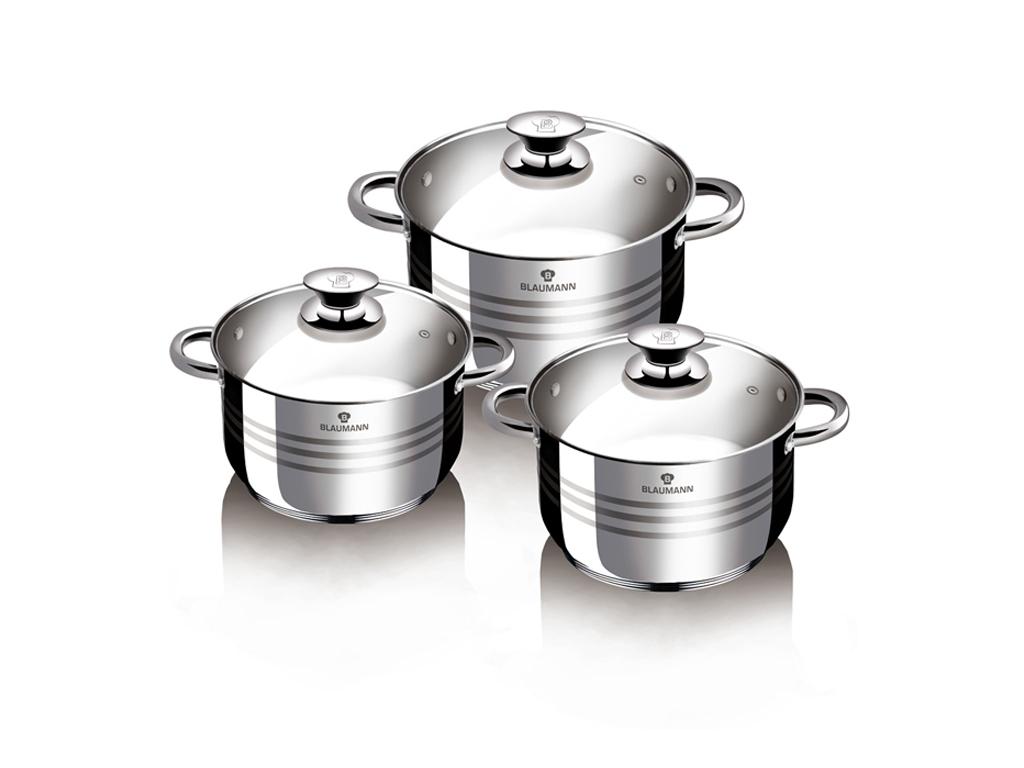 Blaumann BL-3160 Σετ Αντικολλητικά Μαγειρικά Σκεύη 6 τεμ. από Ανοξείδωτο Ατσάλι  σκεύη μαγειρικής   σετ μαγειρικών σκευών