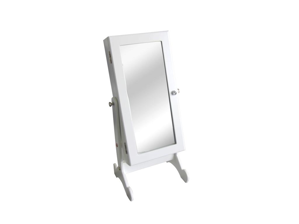 Επιτραπέζια Κοσμηματοθήκη-Μπιζουτιέρα με Καθρέφτη 26x20x51cm σε Λευκό Χρώμα, 709 γυναίκα   αξεσουάρ   κόσμημα