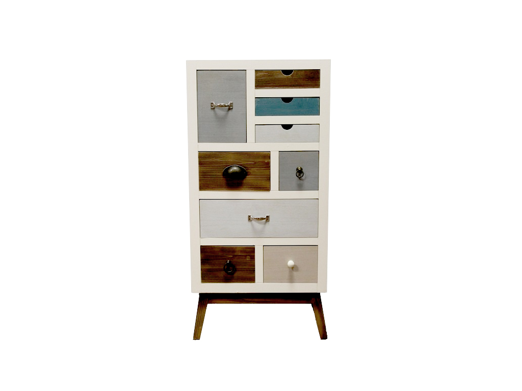 Ξύλινο Μοντέρνο Έπιπλο Σύνθετο με 9 Πολύχρωμα Συρτάρια 47x32x98cm, 72307 - Cb οργάνωση σπιτιού   ντουλάπες
