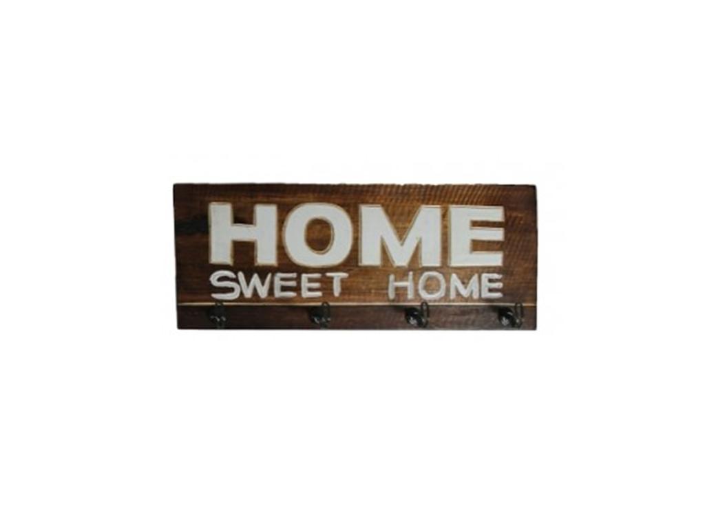 """Κρεμάστρα Ξύλινη με 4 άγκιστρα 40x15x5cm και θέμα """"Home"""", 73979 - Cb οργάνωση σπιτιού   κρεμάστρες"""