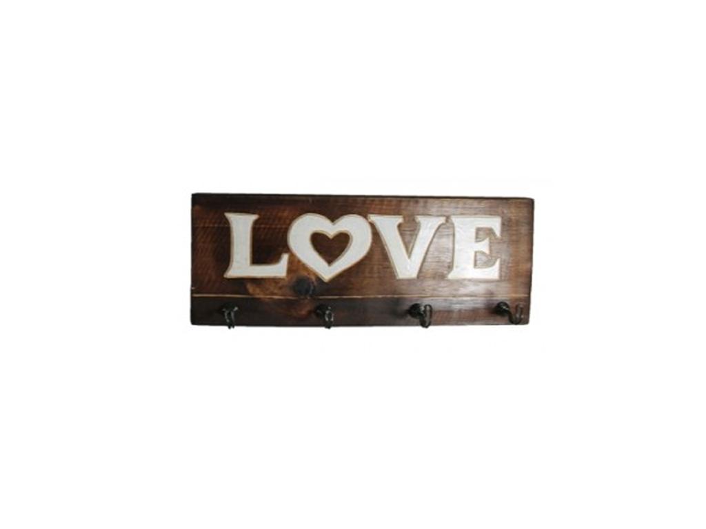 """Κρεμάστρα Ξύλινη με 4 άγκιστρα 40x15x5cm και θέμα """"Love"""", 73979 - Cb οργάνωση σπιτιού   κρεμάστρες"""