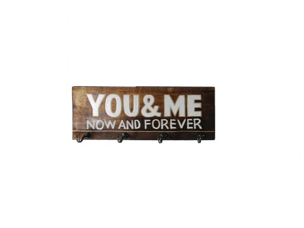 """Κρεμάστρα Ξύλινη με 4 άγκιστρα 40x15x5cm και θέμα """"You & Me"""", 73979 - Cb οργάνωση σπιτιού   κρεμάστρες"""