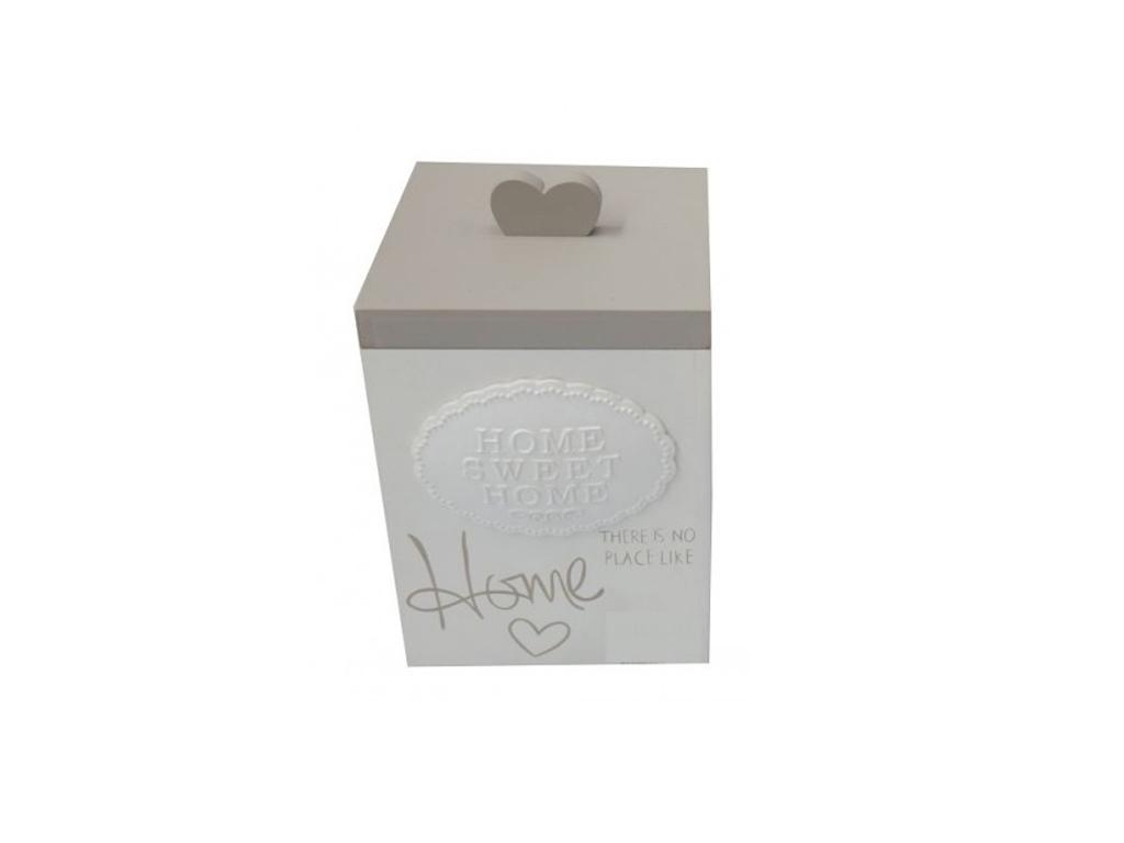 Ξύλινο Κουτί Αποθήκευσης σε Λευκό χρώμα με Γκρι Καπάκι 13x12.5x19.5cm, 79257 - C έπιπλα   μπαούλα και κουτιά αποθήκευσης