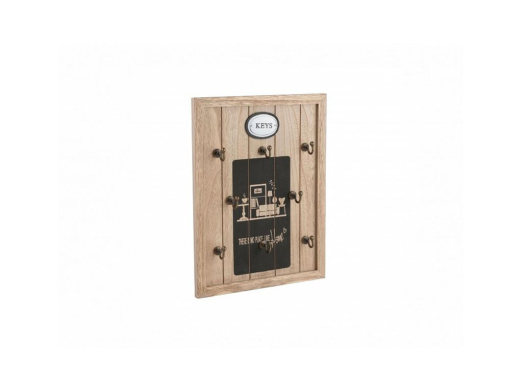 "Arti Casa 89646 Ξύλινη Vintage Κλειδοθήκη 8 θέσεων 34.5x27x4cm με θέμα ""There is οργάνωση σπιτιού   κλειδοθήκες"
