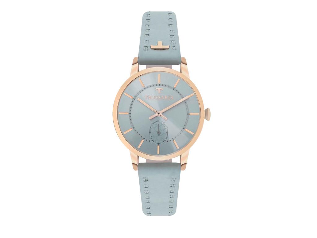 Trussardi Γυναικείο Ρολόι My Time Stainless Steel Case Light Blue Leather Strap, R2451113502 - Trussardi
