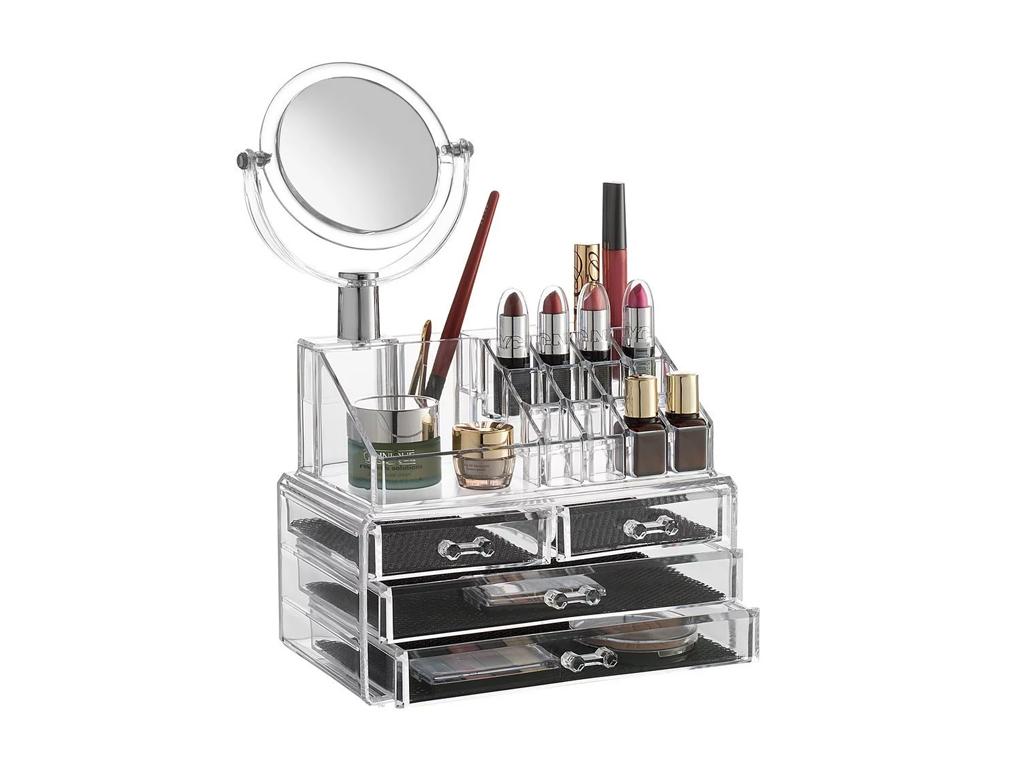 Διάφανη Κοσμηματοθήκη - Μπιζουτιέρα με 3 Συρτάρια & Καθρέφτη Μακιγιάζ - OEM γυναίκα   αξεσουάρ   κόσμημα