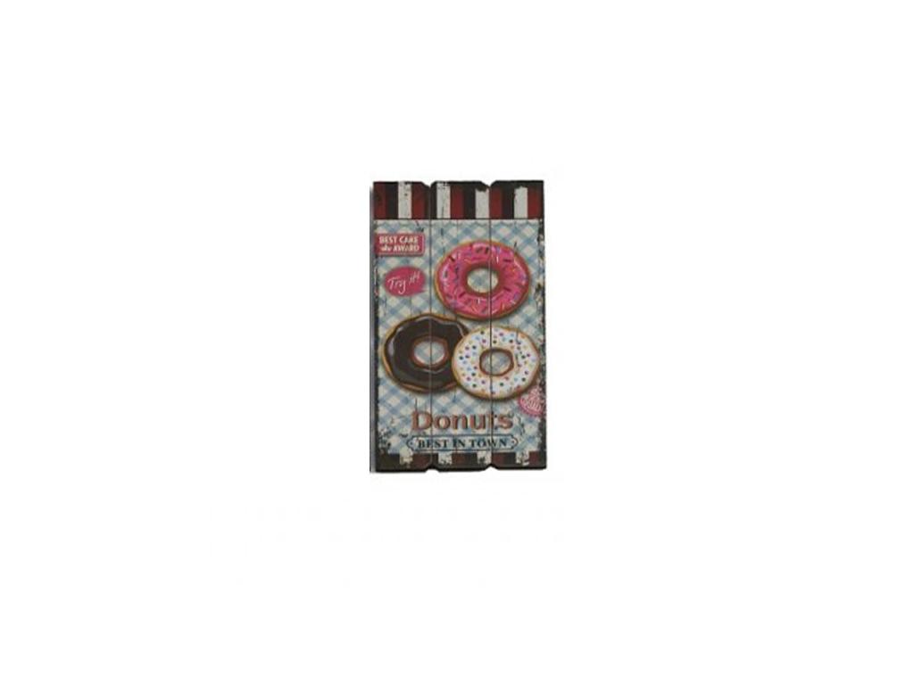 """Ξύλινη Διακοσμητική Πινακίδα με Θέμα """"Donuts"""" 30x1.8x60cm, 77045 - Cb διακόσμηση και φωτισμός   πινακίδες  καμβάδες και αφίσες"""