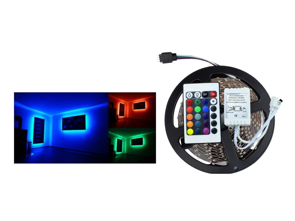 Εύκαμπτη Αδιάβροχη Ταινία LED 5 Μέτρων RGB με Τηλεχειριστήριο 54SMD 4,8W/m - OEM διακόσμηση και φωτισμός   ταινίες led